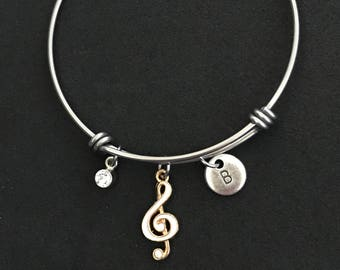 Personalized Music Clef Bangle Music Clef Bracelet Music Note Bangle