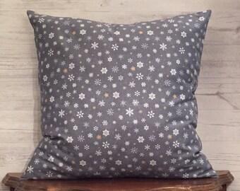 Gray Pillow Cover - Snowflake pillow - Holiday Pillow Cover - Gray Snowflake Pillow - Christmas Pillow - Snowflake Decor - Winter Decor