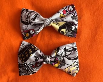 Tim burtons the nightmare before christmas fabric hair bows hand made.