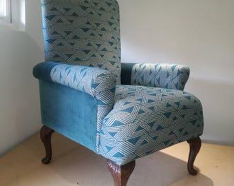Teal blue Vintage arm chair
