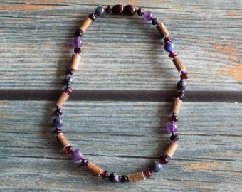 11.25 Inch Digestive System Health Support Baltic Amber, Gemstone, and Hazelwood Necklace Knotted on Silk
