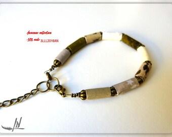 Fabric beads, green, beige bracelet