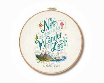 Tolkein 'Not all who wander' Cross Stitch Pattern (Digital Format - PDF)