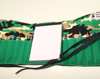 Camouflage crayon roll with Doodle pad