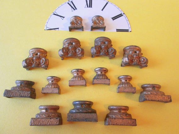 15 Assorted Antique Gold Painted Cast Iron Mantel Clock Feet for your Clock Projects, Furniture Accents - Steampunk Art -