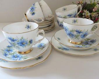 Colclough vintage 1960's Nigella blue cornflowers tea trio