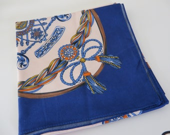 Vintage 1990's blue, gold  and orange scarf , Gift for her, Mothersday gift