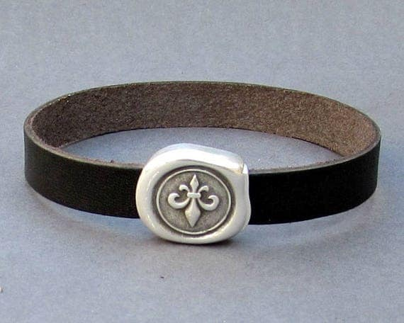 Fleur De Lis Leather Bracelet Cuff Leather Mens Bracelet Cuff Silver Plating  Customized On Your Wrist