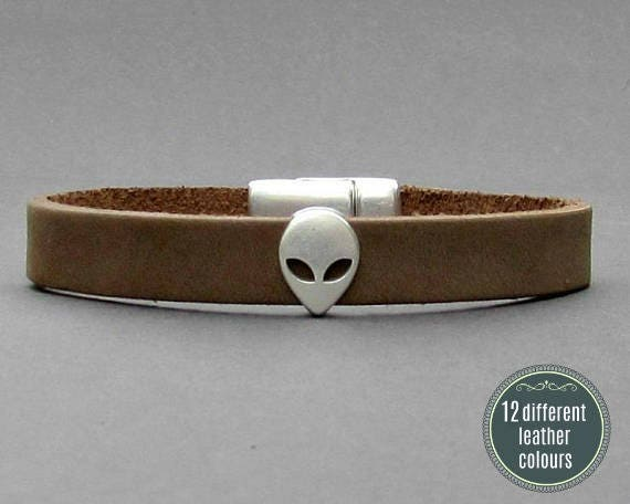 Alien Mens Leather Bracelet Cuff Leather Mens Bracelet Cuff Silver Plating  Customized On Your Wrist