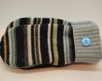 Wool Felted Sweater Mittens / STRIPED Sweater Mittens / Wool Mittens / Lined With Fleece / Handmade