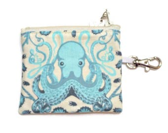 Octopus Keychain Wallet, Keyfob Wallet, Travel Wallet, Mini Zip Wallet, Chapstick holder, Tula Pink Octogarden, blue Coin Pouch, Lipbalm