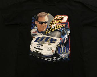 Rare Vintage Rusty Wallace Miller Lite Beer Checkered Flag Nascar Racing  T Shirt Sz:L