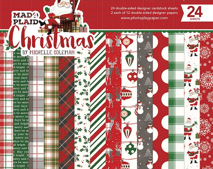 New! Photo Play MAD 4 PLAID CHRISTMAS 6x6 Scrapbook Cardstock Paper Pad