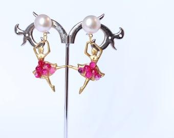 Earrings ballerina pink
