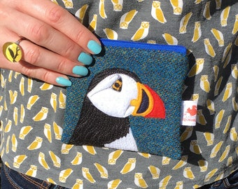Puffin purse  - puffin coin purse - blue Harris Tweed - puffin zip purse - puffin gift - Scottish gift - wool purse - embroidered puffin
