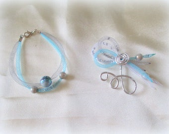 Bracelet and white and turquoise wedding hair jewelry