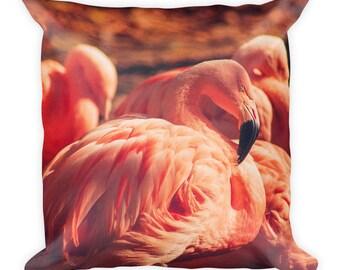 Square Pillow - Red Silo Original Art - Pink Flamingos