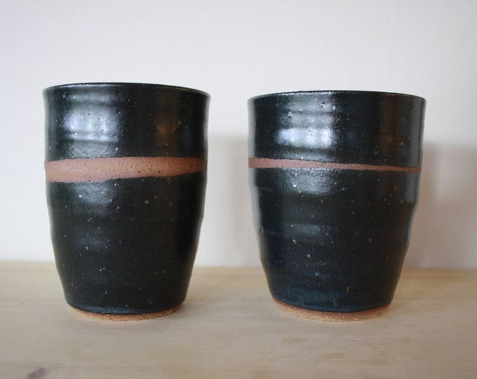 Tumblers - Set of two - Black - Handmade - Ceramics and Pottery - Wheel Thrown - KJ Pottery