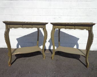 2 Antique Tables Pair of Nightstands Set Bedside End Side Dresser Bedroom Shabby Chic Accent Storage Wood Furniture CUSTOM PAINT AVAIL