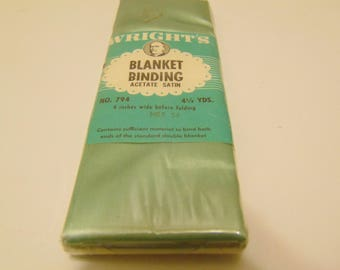 Vintage Nile Green Blanket Binding 4.5 Yards Wrights Sewing Supplies