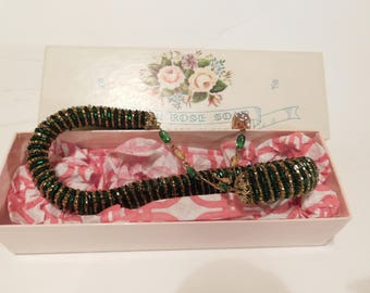 Vintage 1950's Necklace Gold And Green Beaded Choker