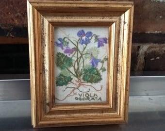 Vintage Freehand With Embroidery Silks Viola Odorata Flowers Botanical