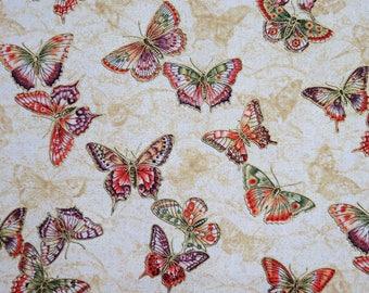 Tea House Butterflies w/ Metallic Cotton Benartex Fabric #2663 By the Yard