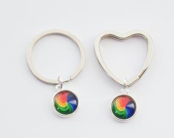 Rainbow Keychains, 2 Pride Keychains, Rainbow Pride Keychains, LGBTQ Keychains, Gay Pride Keychains