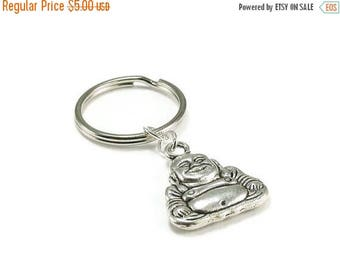 SALE Buddha Keychain Silver Metal Key Ring