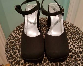 Funky 90'S Black Satin Mary Jane Chunky Heel Platforms Size 8