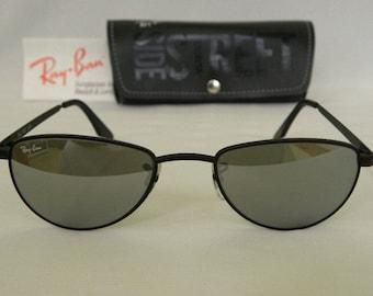 24350c8396a New Vintage B L Ray Ban Sidestreet Gridlock Aviator Matte Black Silver  Mirror Sunglasses USA
