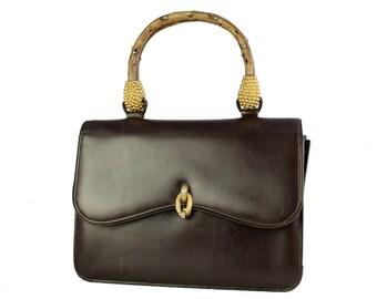 Leather Handbag With Decorative Bamboo Handle