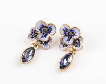 Enamel purple flower  earrings