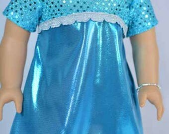American Girl or 18 Inch Doll Party Evening DRESS in Turquoise Aqua Lame and Sequins Jewelry PURSE and SHOES