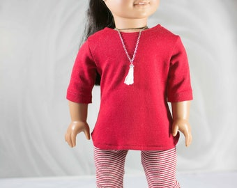 """American Girl or 18"""" doll COAT Ski Cardigan Jacket and Red TUNIC Top Leggings Jeggings Tights in Red Cream Stripes and BOOTS Option"""