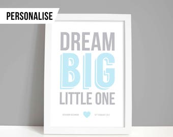 New baby gift, Personalised nursery decor, baby boy or girl decor, Christening gift, Dream big little one print