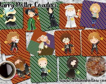 Harry Potter Theme Coasters...Set of 4, set of 6, Set of 8.... You choose, Coasters, Fun, Gift for her, gift for him, Student,