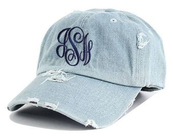 Monogrammed Denim Cap | Personalized Chambray Hat | Personalized Baseball Cap | Monogrammed Baseball Cap | Monogram Distressed Cap |