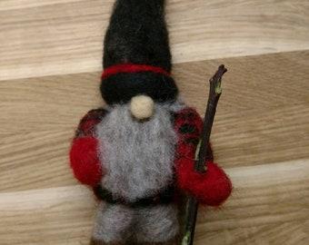 Artsy Woolser Gnome; Woolser Walking Gnome; Needle Felted Original Design Gnome