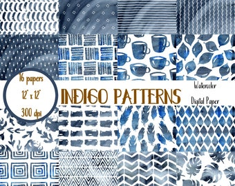 Indigo Digital Paper, Watercolor Digital Paper, Blue, Indigo Scrapbook Paper, Indigo Digital Paper Pack, Indigo Digital Wallpaper