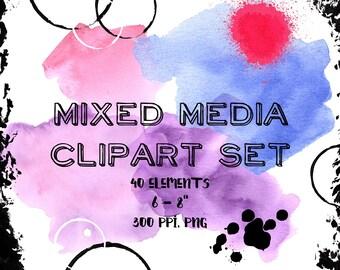 Mixed Media Clipart, Art Marks Clipart, Artsy Clipart, Digital Scrapbook, Mixed Media Digital Scrapbook, Clip Art