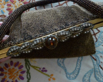 Vintage 1940's Beaded Purse Handbag with Rhinestone Leaves and Topaz Jewel