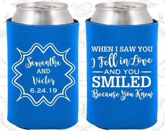 Blue Wedding, Blue Can Coolers, Blue Wedding Favors, Blue Wedding Gift, Blue Party Decorations (477)