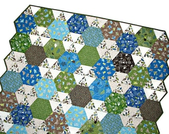 Modern Quilted Throw, Hexagon Lap Quilt, Bird Quilt, Modern Quilt, Blue Green Brown White, 53 inches x 48 inches, Quiltsy Handmade