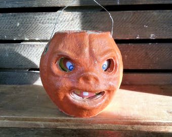 """Vintage Paper Mache Jack O Lantern - Small 3 & 3/4"""" Mid Century Pressed Paper  Halloween Trick Or Treat Candy Holder"""