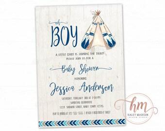 Teepee Baby Shower Invitation, Tribal, Adventure, Arrows, boy baby sprinkle, Rustic Invitation, PRINTABLE FILE HM388