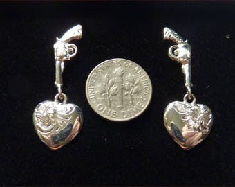 "New Old Stock(NOS) Hand Etched ""Shot Through Heart"" Dangle Silver EARRINGS in Box by Bar V Ranch by Vogt --"