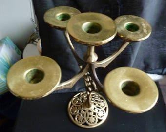 Vintage 5 Branch Menorah Made in Israel Chanukah Hanukkah Candleabra Judaica
