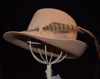 Vintage wide brim tan wool Betmar hat with pheasant feather 1970s hat