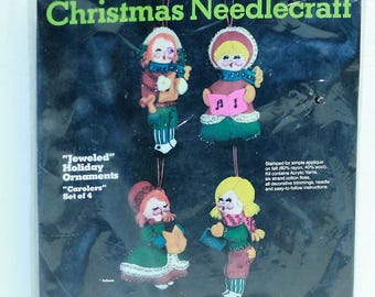 Sultana Jeweled Holiday Ornaments Carolers Kit #32135 Sealed Vintage Made in the USA